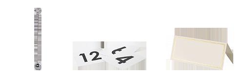 Vermietung : Tischnummernhalter, Namensschilder und Drehplatten