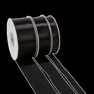 Seidenband schwarz – Breite: 25 mm – Rolle mit 25 m