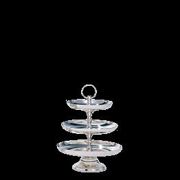 Buffet-Etagere Silber H 47 cm, Platten Ø 35, 30 und 26 cm