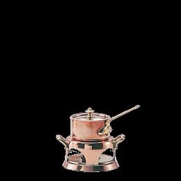Mini-Saucenpfännchen Ø 9 cm mit Brenner aus Kupfer