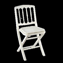 Klappstuhl Napoleon III weiss, Sitz geflochten