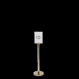 Messingständer mit Plexi-Display H 130cm, Plexihalter A4 hoch