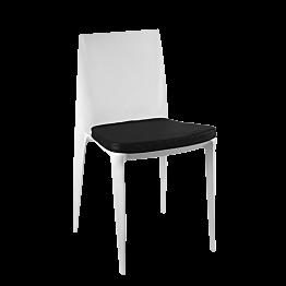 Stuhl Bellini hellgrau mit Sitzkissen schwarz