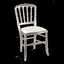 Stuhl Napoleon III Stahlgrau Chintz weiss