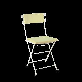 Stuhl Trocadero weiss Sitzkissen und Rückenpolster pistaziengrün