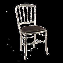Stuhl Napoleon III Stahlgrau Chintz schwarz