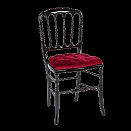 Stuhl Napoleon III schwarz Samt rot