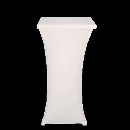 Stehtisch Stahl viereckig mit Husse weiss 60 x 60 cm  H 111 cm