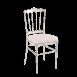 Stuhl Napoleon III Cristal mit Sitzkissen weiss