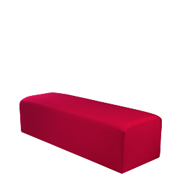 Sitzkissen rechteckig mit roter Husse 50 x 150 cm H 40 cm