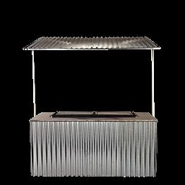 Buffet Klappbar Wellblech BBQ 100 x 200 cm mit Wellblechdach