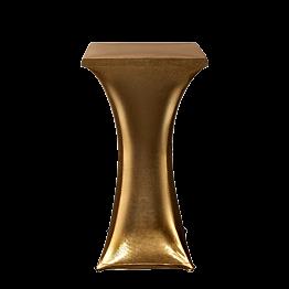 Stehtisch Stahl viereckig mit Husse gold 60 x 60 cm H 111 cm