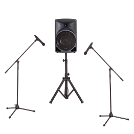 Beschallungsanlage: 1 Lautsprecher – 2 Mikrofonständer – 2 Mikro