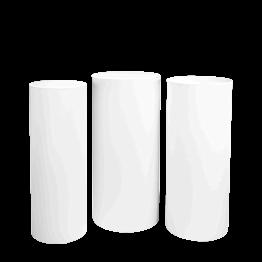 Stehtischen Zylinder mit Husse weiss H 110 - 112 - 114 (3er Set)