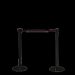 Abschrankungsständer mit schwarzem Band L max 2 m H 95 cm