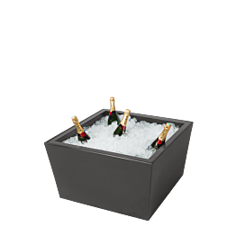 Tisch tief Kegel schwarz mit Eisbecken für Champagner
