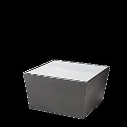 Tisch tief Kegel schwarz, mit Oberfläche Acryl weiss 70x70x40 cm