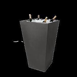 Stehtisch Kegel schwarz, mit Eisbecken für Champagner