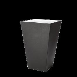 Stehtisch Kegel schwarz, Oberfläche Acryl weiss