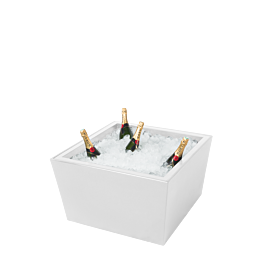 Tisch tief Kegel weiss mit Eisbecken für Champagner