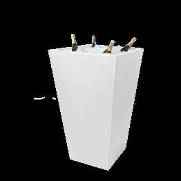 Stehtisch Kegel weiss mit Eisbecken für Champagner