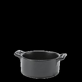 Mini-Kochtopf aus Porzellan schwarz Ø 7,2 cm H 3,5 cm 8 cl