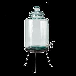 Vintage Glasflasche Ø 25 cm H 45 cm 12,5 L auf Ständer H 10 cm