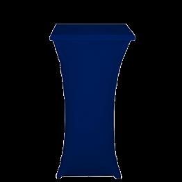 Stehtisch Stahl viereckig mit Husse blau 60 x 60 cm H 111 cm