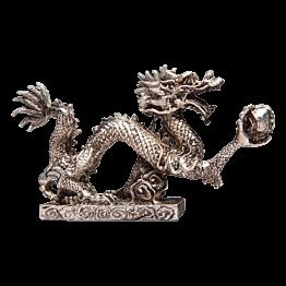 Drachenfigur Silber H  11 cm - L 21 cm - T 4 cm
