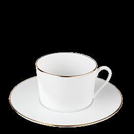 Kaffee-/Teetasse mit Unterteller Plane Goldstreifen 22 cl