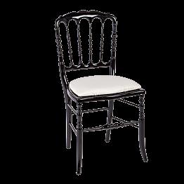 Stuhl Napoléon III schwarz Chintz beige