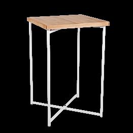 Stehtisch Kreuzgestell weiss Platte Holz 65 x 65 cm H 100 cm