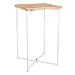 Stehtisch Kreuzgestell weiss Platte Holz 65 x 65 cm H 110 cm