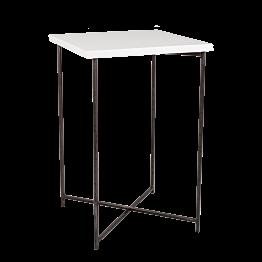 Hochtisch Kreuzgestell Stahl Platte weiss 65 x 65 cm H 100 cm