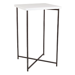 Stehtisch Kreuzgestell Stahl Platte weiss 65 x 65 cm H 110 cm