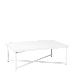 Tisch tief Kreuzgestell weiss Platte weiss 64 x 101 cm H 35 cm