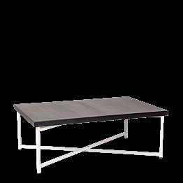 Tisch tief Kreuzgestell weiss Platte schwarz 64 x 101 cm H 35 cm