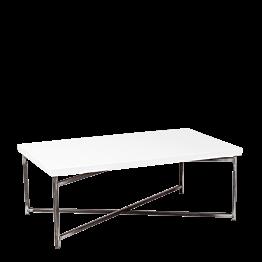 Tisch tief Kreuzgestell weiss Stahlplatte  64 x 101 cm H 35 cm