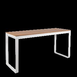 Hochtisch weiss mit Holzplatte 230 x 80 cm H 110 cm