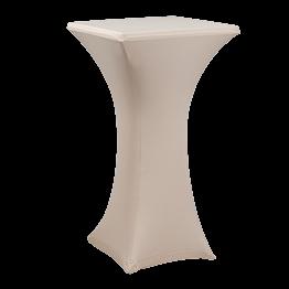 Stehtisch Stahl viereckig mit Husse beige 60 x 60 cm H 111 cm