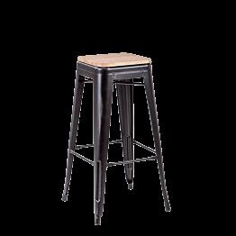 Barstuhl Industrial schwarz mit Holzsitz H 78 cm